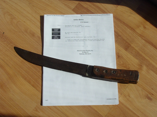 IDENTIFIED CONFEDERATE SIDE KNIFE